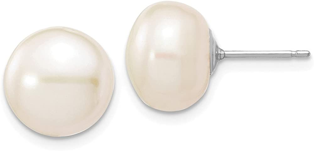 14k White Gold White Button Cultured Pearl Stud Earrings (L-10 mm, W-11 mm)