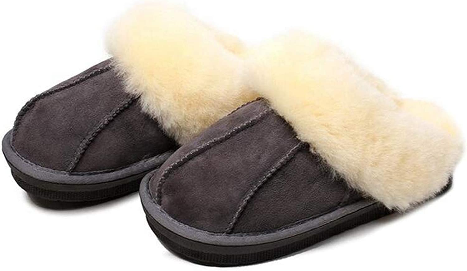 Nafanio Home Couple Slippers Genuine Leather Sheepskin Boots Wool House Indoor Loafer Long Plush Winter shoes