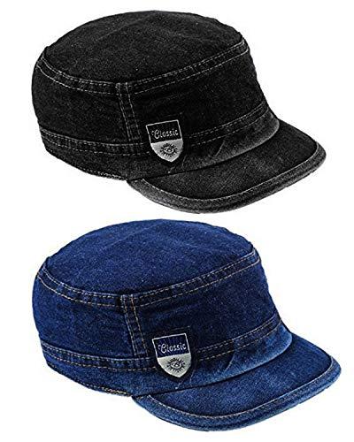 Dryon Men's and Women's Denim Adjustable Cap (Multicolour) -Pack of 2