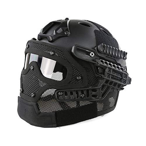 LHY HELMET CS Taktischer Helm PJ-Typ Fast Molle mit Maske und Schutzbrille G4 System für Airsoft Paintball Outdoor,B