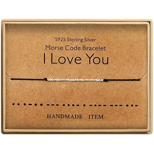 Morse Code Bracelet Sterling Silver Beads on Silk Cord Secret Message I Love You Bracelet Gift Jewelry for her