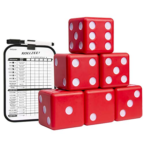 GoSports Giant 3.5  Red Foam Playing Dice Set with Bonus Scoreboard (Includes 6 Dice, Dry-Erase Scoreboard and Carrying Case)