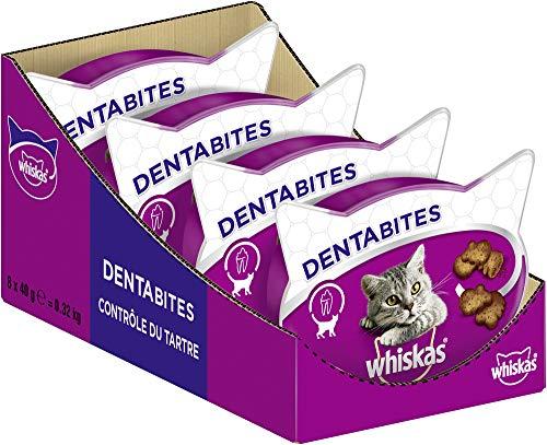 Whiskas Dentabites Zahnpflegesnacks für Katzen mit Huhn, 8 Packungen (8 x 40 g)