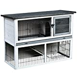 Pawhut 2-Tier Wooden Rabbit Hutch Bunny Cage Backyard w/Ramp Outdoor Run Built-in Tray Openable Roof Small Animal House 108 x 45 x 78 cm