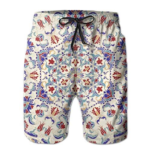 Herren Boardshorts Nahtloses buntes Muster mit Mandala. Vintage dekorative Element Badehose L.