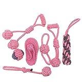 JsJr-K-In Juguete de cuerda para perros, 1 unidad/7 piezas de cuerda de algodón para masticar perros al aire libre de dientes limpios para perros de la cuerda de bolas para mascotas medianas