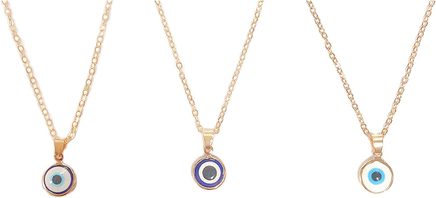 3Pcs Set Boho Colorful Adjustable Evil Eye Round Gold Chain Link Resin Enamel Necklace Choker Collar Party Jewelry for Women Girls Dainty Tiny Cute Turkish Protect Lucky
