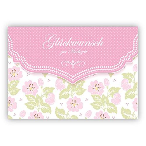 Im 5er Set: Schöne Hochzeitskarte mit zartem Blüten Muster in rosa: Glückwunsch zur Hochzeit