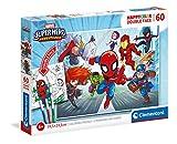 Clementoni- Marvel Superhero Supercolor Double Face Coloring Superhero-60 Pezzi-Made in Italy, Puzzle da colorare Bambini 5 Anni+, Multicolore, 26098