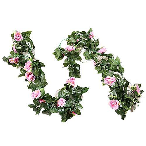 GoodFaith Guirnalda de flores artificiales para colgar en forma de rosas, para decoración del hogar, color morado claro