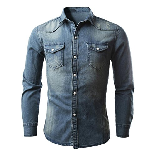 Hombres Camisetas, Retro Denim Camisa Blusa de Vaquero Moda Slim Thin Tops Largos Mezcla de Algodón (L)