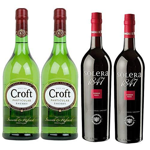 Vino Oloroso dulce Solera 1847 y Amontillado Croft Particular - D.O. Jerez - Mezclanza Gonzalez Byass (Pack de 4 botellas)