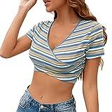 Camisa De Manga Corta Ajustada A Rayas con Cuello En V para Mujer De Primavera Y Verano Camiseta Recortada Top para Mujer