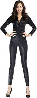 Colorful House Womens Costume Snake Skin Print Front Zipper Leather Tight Jumpsuit Catsuit Halloween Costumes