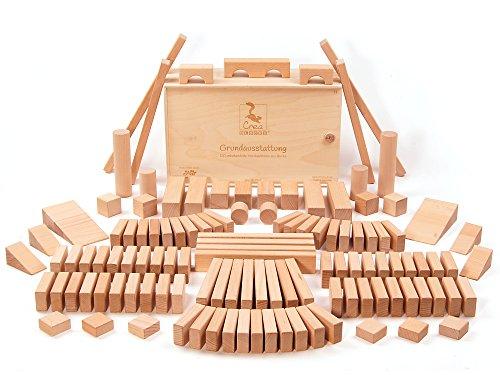 CreaBLOCKS Holzbausteine Grundausstattung ( unbehandelte Bauklötze) Made in Germany