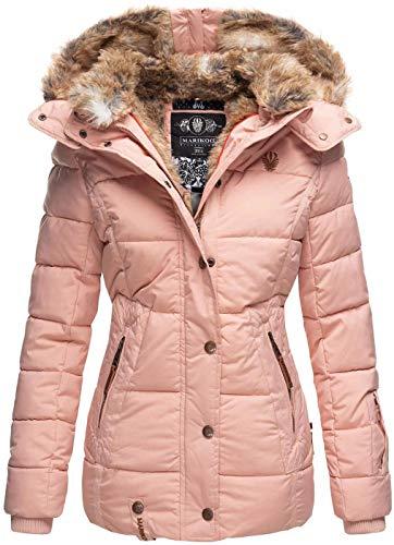 Marikoo warme Damen Winter Jacke Winterjacke Steppjacke gefüttert Kunstfell B658 [B658-Nek-Rosa-Gr.XXL]