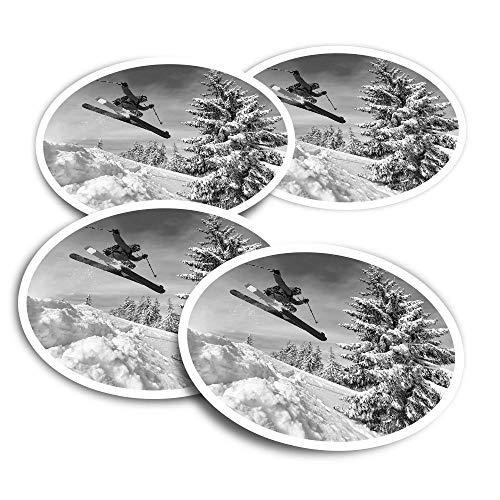Pegatinas de vinilo (juego de 4) 10 cm – BW – Skiing Jump Mountains – Pegatinas divertidas para computadoras portátiles, tabletas, equipaje, reserva de chatarra, frigoríficos #36372