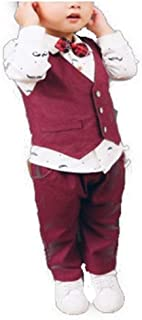 [FUPUⅣ] 子供服 セットアップ 男の子 ベスト シャツ 蝶ネクタイ 入学式 入園式 フォーマル 普段着 (ワインレッド, 110cm)