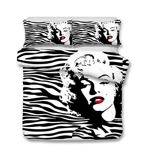 WZPL Monroe Marilyn Imprimir Juego De Cama De Tres Piezas Funda De Edredón Microfibra Cama Individual Juego De Tres Piezas (2 Fundas De Almohada) (AD 180 * 210 cm)