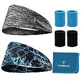 Photo Gallery tomshoo 7 in 1 kit - fascia per capelli + fasce da polso + asciugamano raffreddamento rinfrescante per corsa, yoga, allenamento palestra