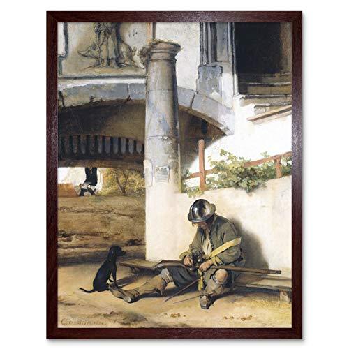 Fabritius Sentinel Sentry Dog Man Gun Painting Art Print Framed Poster Wall Decor 12x16 inch Malerei Wand Deko