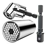 CIGOTU Universal Socket, 7mm-19mm Multifunctional Cordless Ratchet Adapter Socket Wrench Set, Impact Grade Driver Sockets Adapter Extension Set, Screwdriver Set Hex Bit + 105 Degree Right Angle Drill
