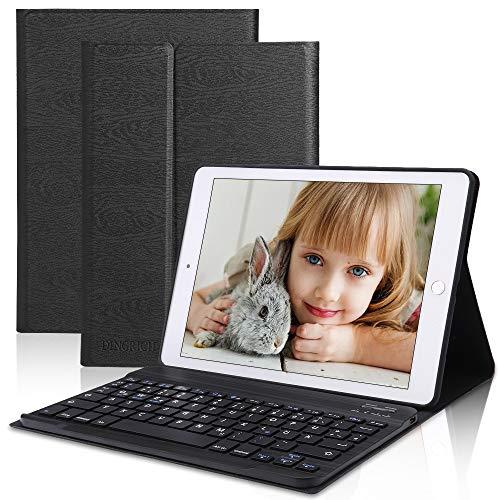 D DINGRICH iPad8thGen 2020Tastatur Hülle, (7th Gen) iPad Air 3, iPad Pro 10.5 Compatible, Wireless Tastatur [QWERTZ], Stifthalter, iPad Hülle mit Tastatur- Schwarz