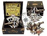 Hanzla Collection J. Scott - Sextante de latón antiguo con dos telescopios adicionales en caja de madera