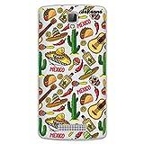 dakanna Funda para [ZTE Blade L5 - L5 Plus] de Silicona Flexible, Dibujo Diseño [Patrón Mexico con Tequila, Cactus, Tacos y Calavera], Color [Fondo Transparente] Carcasa Case Cover de Gel TPU