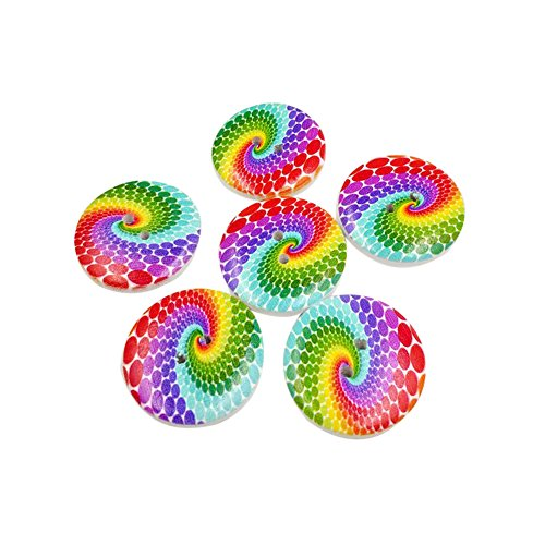 50Pcs Wooden Buttons Rainbow Bread Sewing Scrapbooking DIY Accessory Decoration liyhh