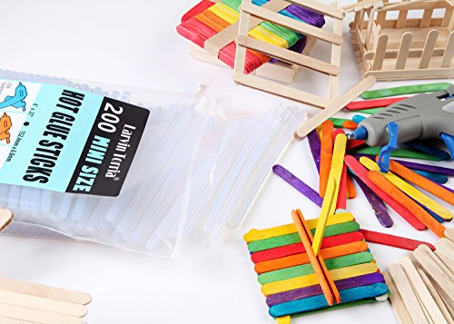 """200 Pack, 6"""" Length and 0.27"""" Diameter Mini Size Hot Glue Sticks, High Viscosity and Transparent, Use with All Temperature Mini Glue Guns, Ideal for Art Craft, Basic Repairs and DIYs"""