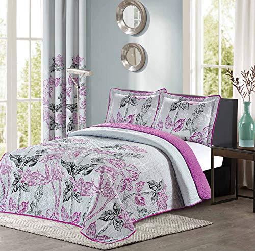All American Collection 2pc Purple and Grey Modern Plaid Bedspread and Pillow Sham Set   Matching Curtains Available! (Twin Size)