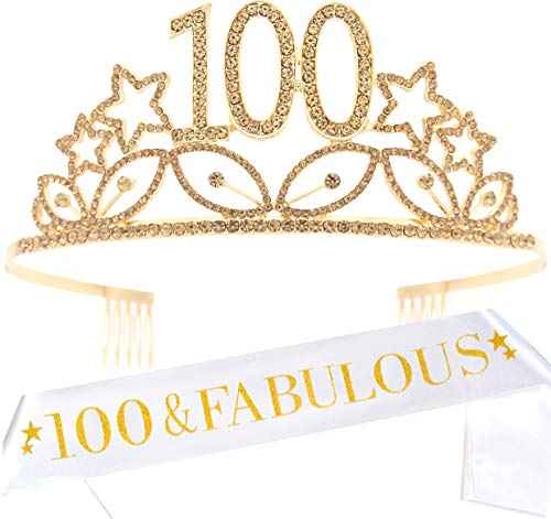 100th Birthday Gifts for Women, 100th Birthday Tiara and Sash, Happy 100th Birthday Party Supplies, 100 Fabulous Glitter Satin Sash and Crystal Tiara Crown, 100th Birthday Party Decorations