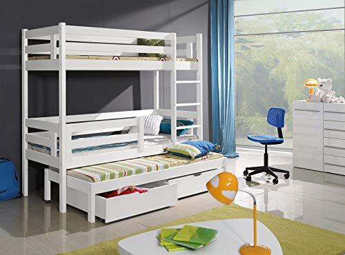 Bunk Beds Etagenbetten, 3 Etagen, weiß, modern, massives Holz, 2 Schubladen, Univesrsal Leitermatratzen