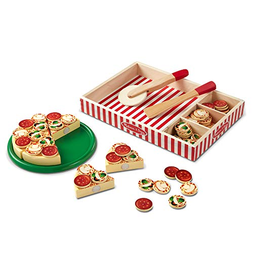 Melissa & Doug Pizza Party Wooden Play Food, 54+ Pieces (E-Commerce Packaging, Great Gift for Girls and Boys - Best for 3, 4, and 5 Year Olds)