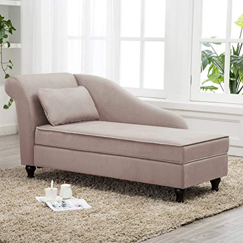 Modern Chaise Lounge Open Fold Spa Sofa Long Lounger for Bedroom, Office, Living Room with Storage