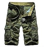 Cicilin - Pantalón corto para hombre, estilo militar, estilo vintage, bermudas, 100% algodón, multibolsillos, sin cinturón Camo verde. 31