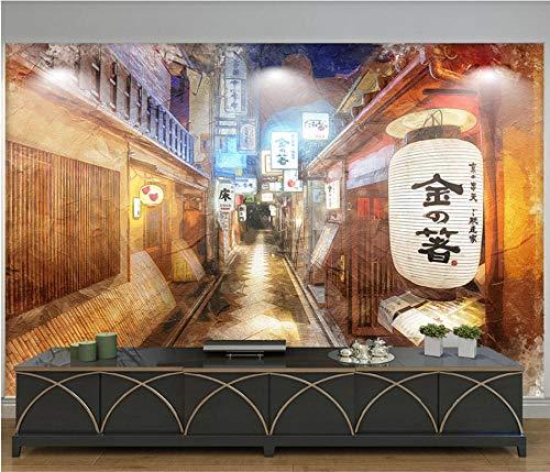 Muurschildering achtergrond 3D nostalgische Street 3D-fotobehang in Japanse stijl voor Japanse keuken, sushi-restaurant, industriële decoratie, wandbehang 300 x 210 cm.