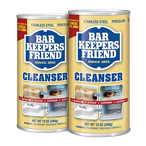 Bar Keepers Friend Powder Cleanser 12 Oz - Multipurpose Cleaner & Stain Remover - Bathroom, Kitchen & Outdoor Use - for Stainless Steel, Aluminum, Brass, Ceramic, Porcelain, Bronze and More (2 Pack)