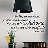 Bidsu Wall Decal Quote Words Lettering Decor Sticker Wall Vinyl Spanish Quote Wall Decal Bible 4:8 en paz me acostanre y asimismo dormire Wall Sticker for Living Room Bedroom