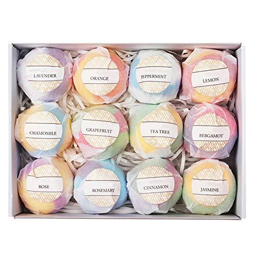Cimoto 12Pcs Bath Bombs Bubble Bath Salts Balls Essential Oil Handmade SPA Stress Relief Exfoliating