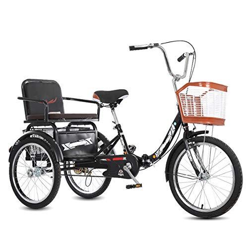 ZFF Triciclo per Adulti A Pedalata Assistita con Cestino della Spesa E Sedile Posteriore 20 Pollici Bicicletta A 3 Ruote velocità Singola per Gli Anziani (Color : Black)