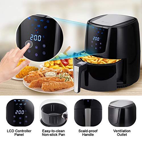 PureMate 4.2L Digital Air Fryer Oil Free Healthier Low Fat Fryer with Timer and Adjustable Temperature Control - 1400W Cooker Food Oven - Recipe Book Included