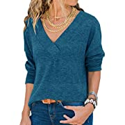 Generic  Damen Sweatshirt Langarmshirt V-Ausschnitt Pullover Casual Sport Shirt Oberteile mit Tie Back,  Neu-blau ,  M