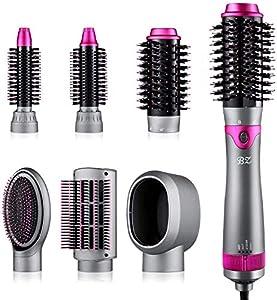 Secador de pelo 6 en 1, cepillo y voluminizador, secador de pelo extraíble, cepillo de aire caliente de una etapa para alisar el rizador y peinar el masaje del cuero cabelludo.