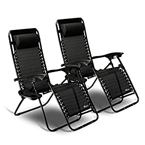 SUNMER Set of 2 Zero Gravity Outdoor Chairs With Cup And Phone Holder - Black