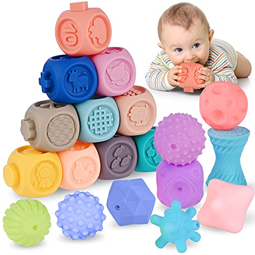 Cieex Balles Sensorielles Bébé Boules Sensorielle Ensemble de Multi-Boules Texturés de 22 Pièces pour Développement Sensoriel et Introduction Couleurs, Nombres, Comptage, Tri