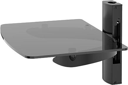 1409f776e3e Ttap único negro estantería flotante con cristal templado reforzado para  reproductores de DVD/cajas de