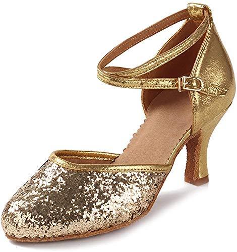 HIPPOSEUS Damen & Mädchen Sandalen Ausgestelltes Tanzschuhe/Ballsaal Standard Pailletten Latein Dance Schuhe,DEWXCL-7,Pailletten+Gold,UK 5.5/EU 38 - 2