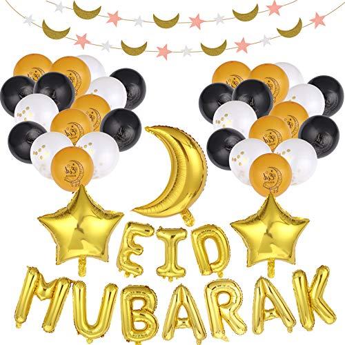 OBANGONG Eid Mubarak Balloons Decorations for Home,Eid Mubarak Themed Letter Banners,Latex Balloons,Aluminum foil Balloons,Moon Stars Ornaments kit for Ramadan Party Decoration Supplies